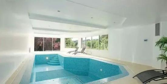 地下室的巨大泳池,窗外就是5000平的花园。
