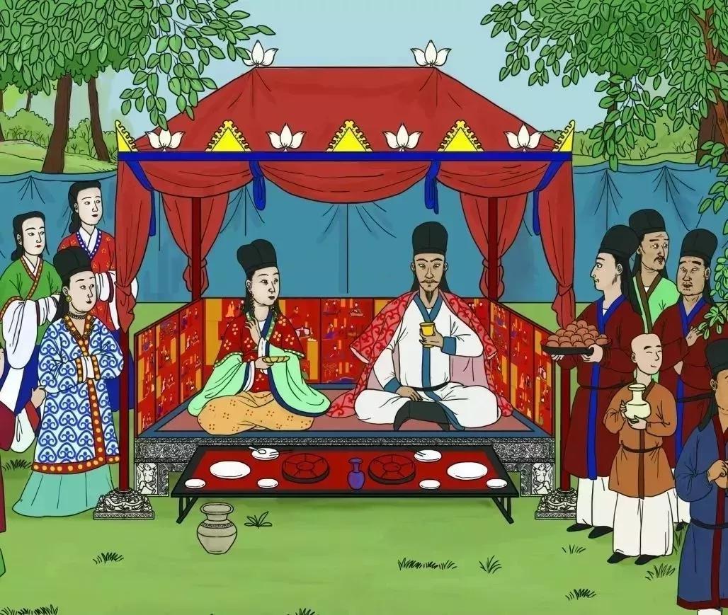 ▲复原图:司马金龙与钦文姬宴饮场景 绘画 燕王