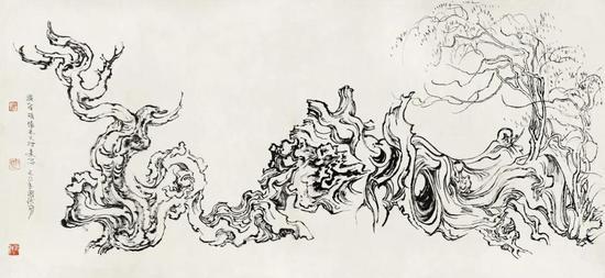 张仃《胡杨》 纸本焦墨 76厘米×35厘米 1981年