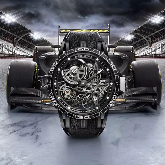 ▲ Excalibur Spider Pirelli系列 自动上链镂空腕表白色款