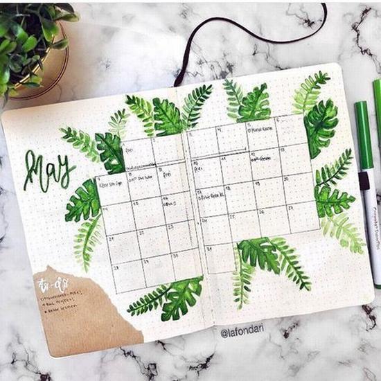 小清新风格的手账排版 图片源自instagram@the journal life