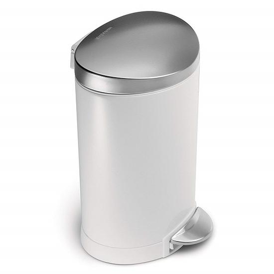 Simplehuman半圆形拉丝不锈钢垃圾桶 价格约282元 亚马逊有售 图片来自www.amazon.cn