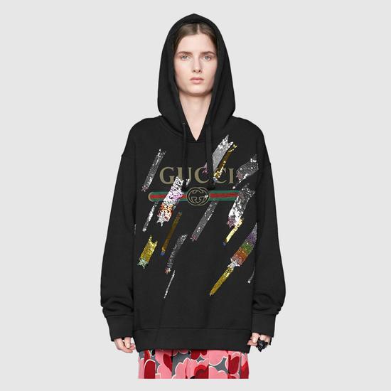 黑色亮片刺繡帽衫 Gucci