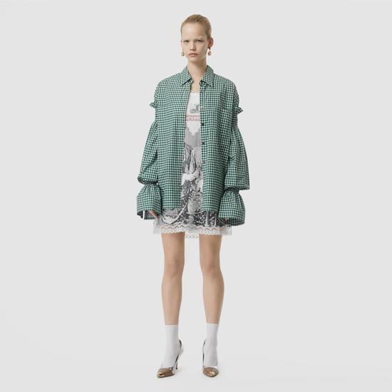 綠色格紋泡泡袖襯衫 Burberry ¥8000