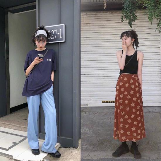 普通单品穿出时髦感,轻松成为美丽小姐姐阔腿裤印花基本款