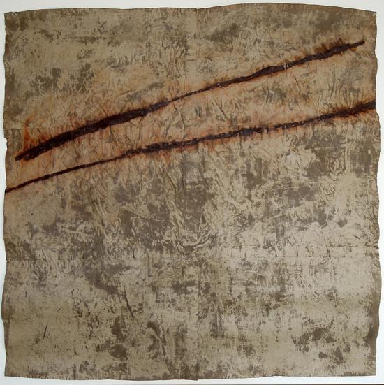 《氧化物》,2001,锈与蜡/纸,140x140公分