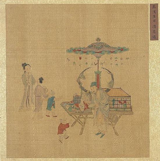 集古名绘 冊 传 南宋 苏汉臣 《市担婴戏》台北故宫博物院藏
