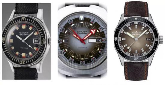 五十�x深潜器:左二-历史表,右-现代复刻款