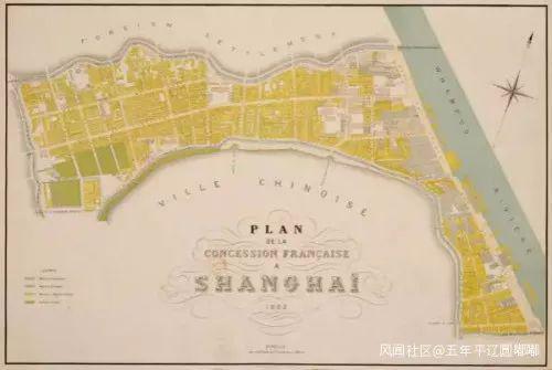 1882年的法租界全图,此时法租界已经完成第一次扩界,北界洋泾浜以北的英美租界也已合并为公共租界