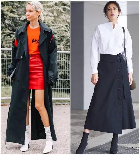 迷笛裙配袜靴也还可以。这身黑皮衣配黑皮裙,再配上黑色袜靴,很酷。▼