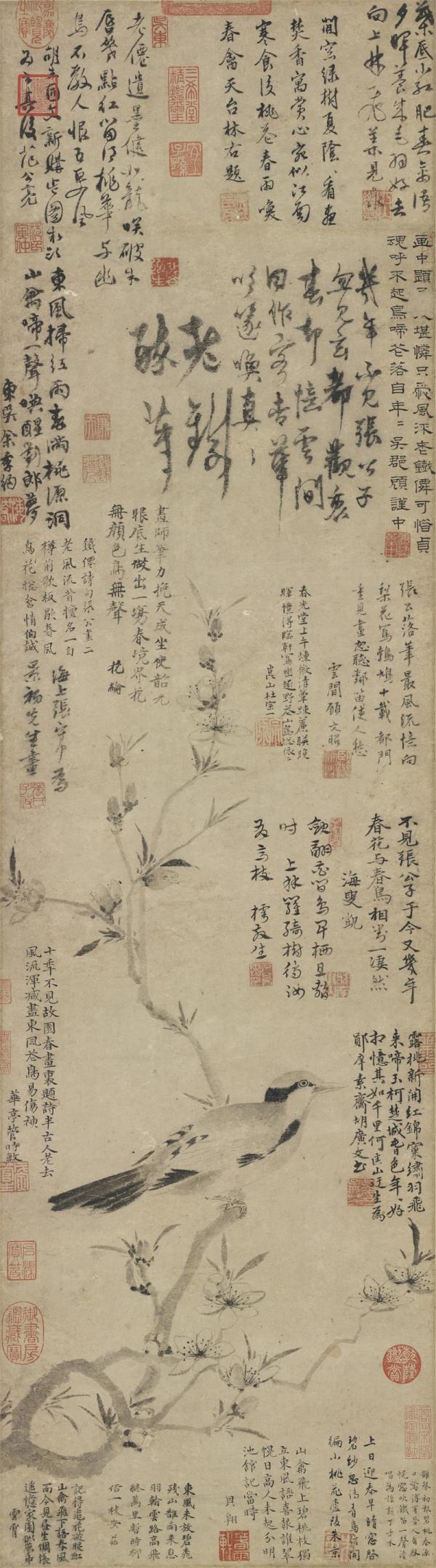 《桃花幽鸟图》轴,元,张中绘,纸本墨画,112.2 x 31.4cm,台北故宫博物院。
