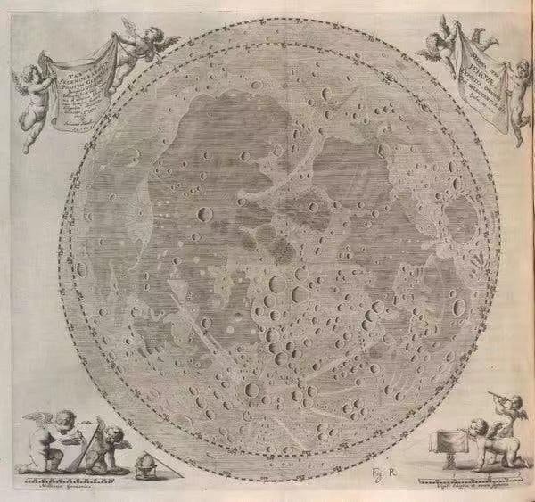 约翰内斯·赫维留于1647年发表的月球舆图