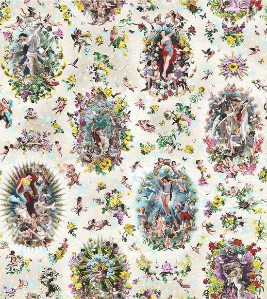 受到十八世纪 Jouy 的油画启发,Jean Paul Gaultier 为 Lelièvre 设计的壁纸 Récréation