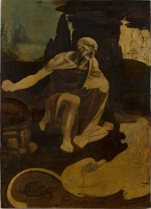 達芬奇《圣·杰羅姆在荒野中祈禱》(局部,右上有教堂小草圖)