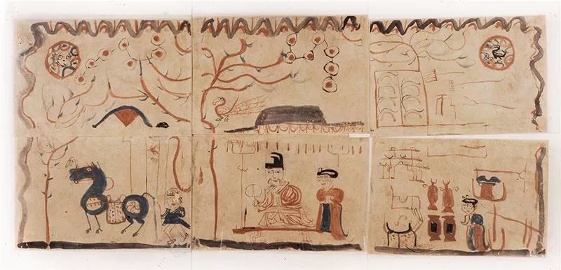 墓主人生活图,东晋,年吐鲁番阿斯塔那13号墓出土,新疆维吾尔自治区博物馆藏