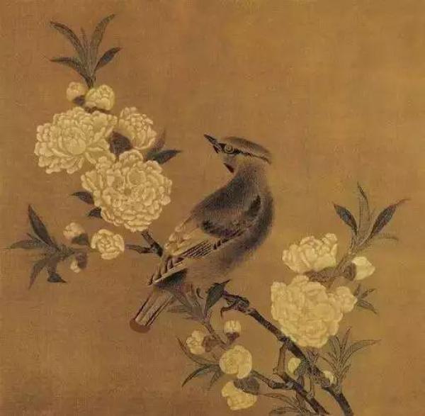 《桃花山鸟图》,宋佚名, 绢本设色,23.8cmx24.4cm,台北故宫博物院。