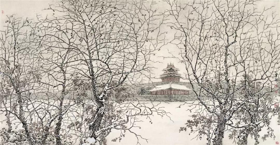 《雪中的角楼》 郭宝君 89×170 cm 2004年 纸本水墨 北京画院藏