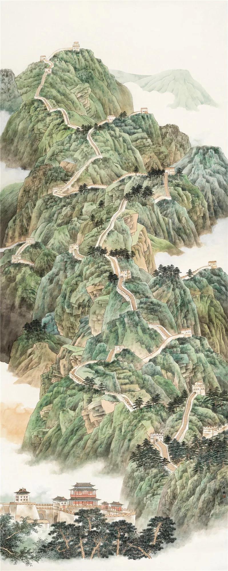 《京华新境》360×150cm×4 纸本设色 2019年