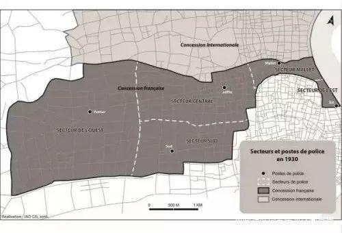 西区(Secteur de l'ouest)、中区(Secteur central)以及南区(Secteur sud)就是法租界第二次扩界夺取的地盘