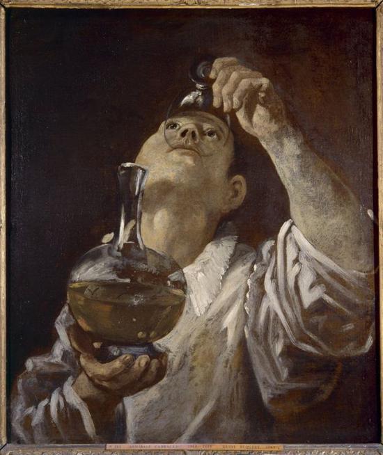 《饮酒的男孩》(A Boy Drinking),Annibale Carracci,1580年