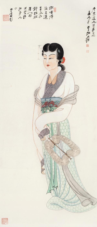 张大千 《唐人仕女图》112×48cm1949年  华艺国际2019春拍:张大千《唐人仕女图》以1265万元成交