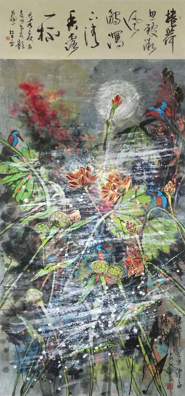 再看国画《威名远扬》,则是一幅叱咤风云、令人震撼的氛围——