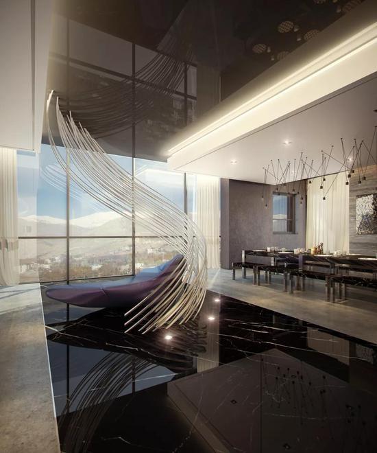 刚才我们看到的餐厅背后,是这个巨大但实用的雕塑设计,也是全屋的点睛之笔。