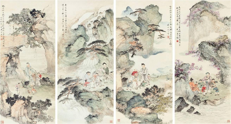 图4。沈子丞1947年作《八仙图四屏》