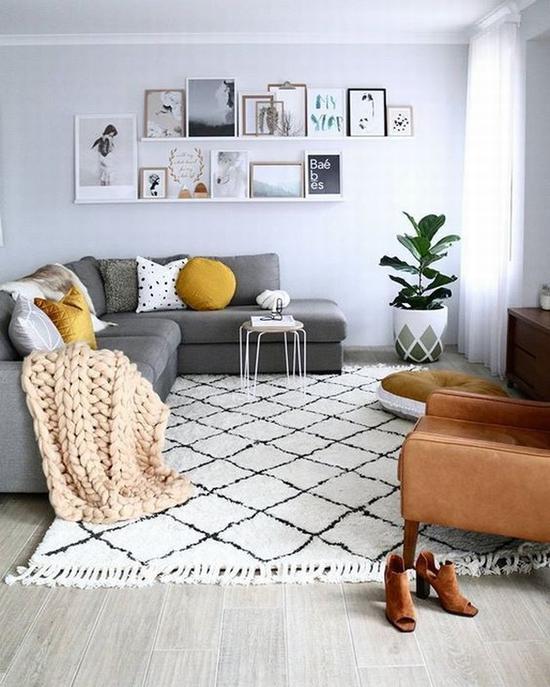 北欧风地毯搭配 图片源自modernhomesblog.org