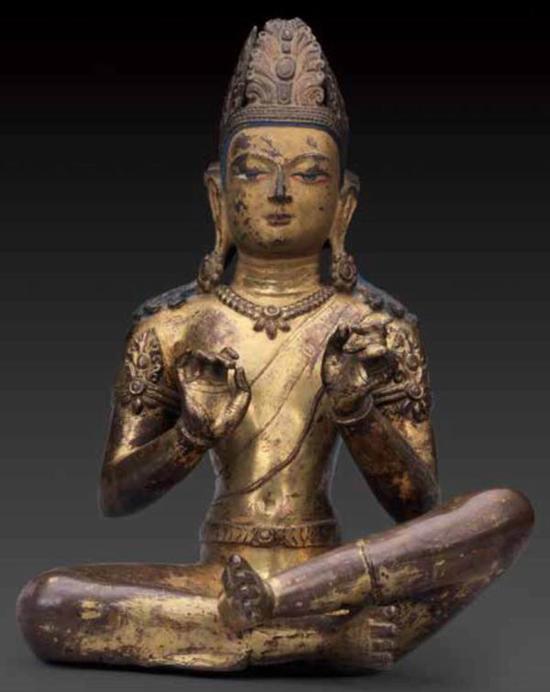 《铜鎏金菩萨坐像》,吐蕃晚期,10 世纪 ,西藏博物馆藏