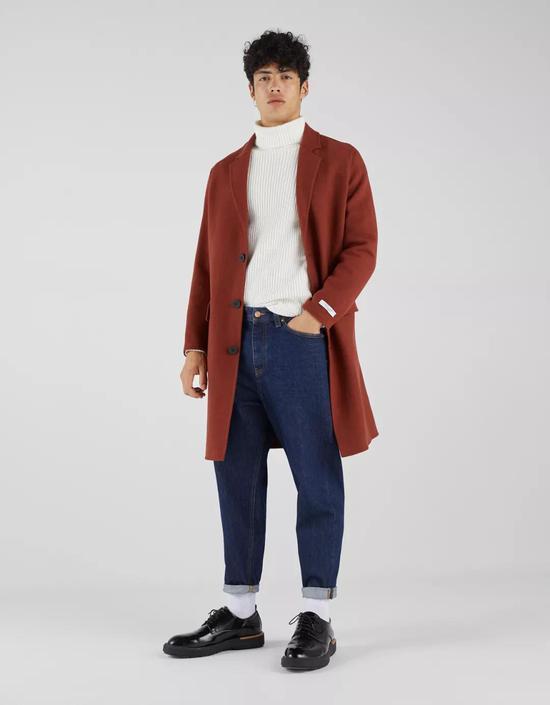 Bershka潮流呢绒直筒中长款大衣 ¥ 799.00