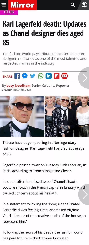 首先是外媒的报道,#香奈儿设计总监老佛爷去世#立马上了热搜。