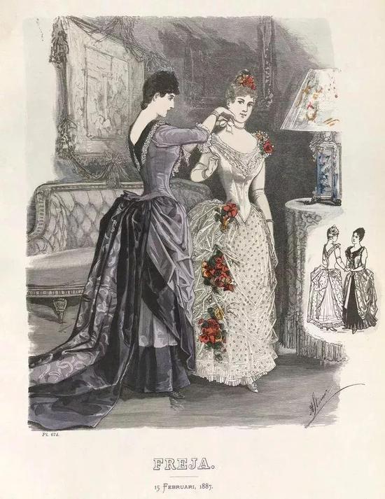 在维多利亚时期的欧洲贵族圈子里,女性一般都要求女侍从为其穿衣
