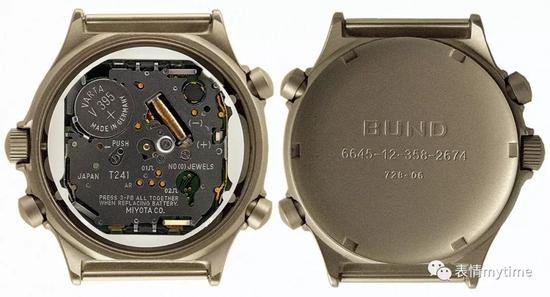 钛合金表壳内的多功能石英机芯Miyota T241