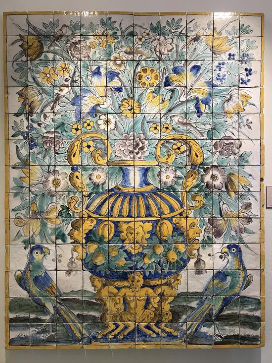 """▲""""花瓶""""花纹瓷板画(1650-1675)"""
