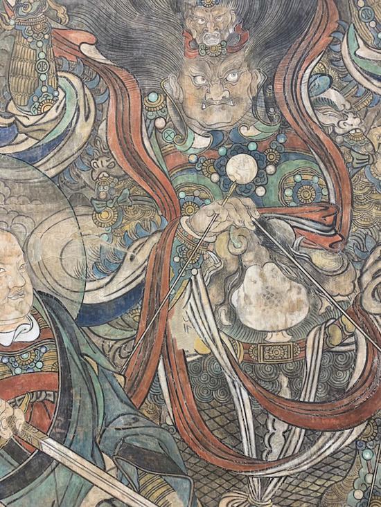 加拿大安大略博物馆藏《朝元图》临摹局部。 澎湃新闻记者 黄松 图