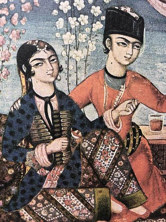 十八世纪波斯细密画《春》明信片局部