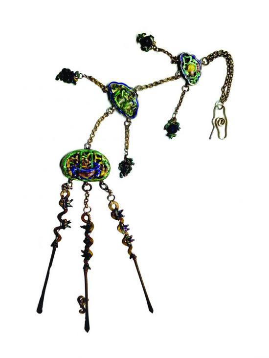 精巧細膩的晚清琺瑯銀器多寶串