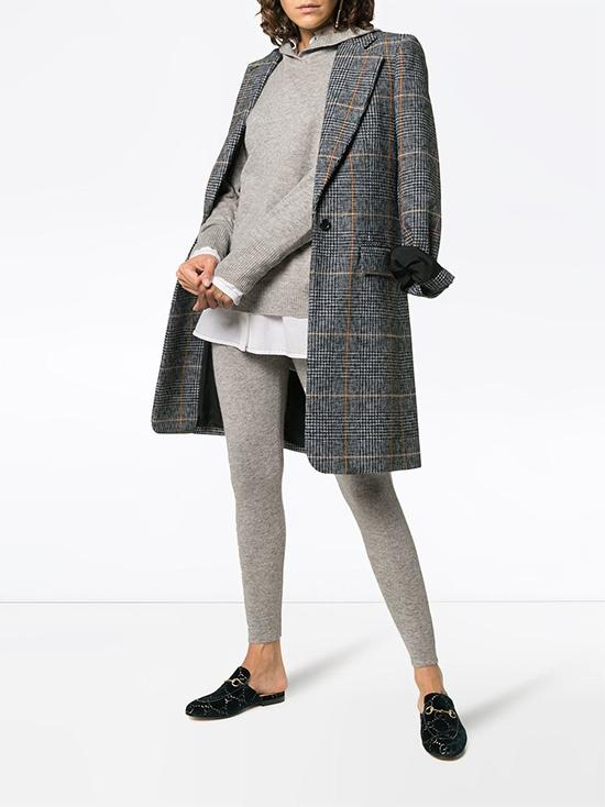 Marni 尖领全棉衬衫,Chloé 单排扣格纹外套,Le Kasha Kenya羊绒运动裤
