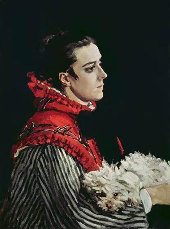 莫奈《卡米尔和小狗》(Camille with a Small Dog)1866