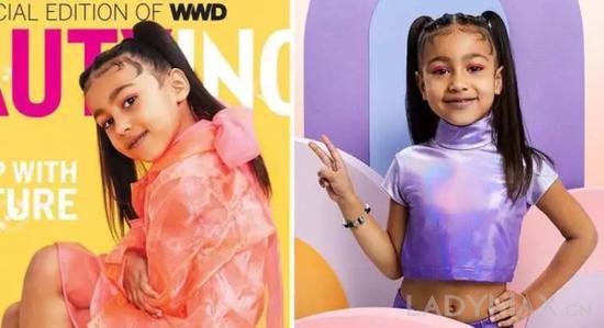 美国真人秀明星Kim Kardashian和说唱歌手Kanye West女儿North West登上《WWD Beauty Inc。》杂志封面