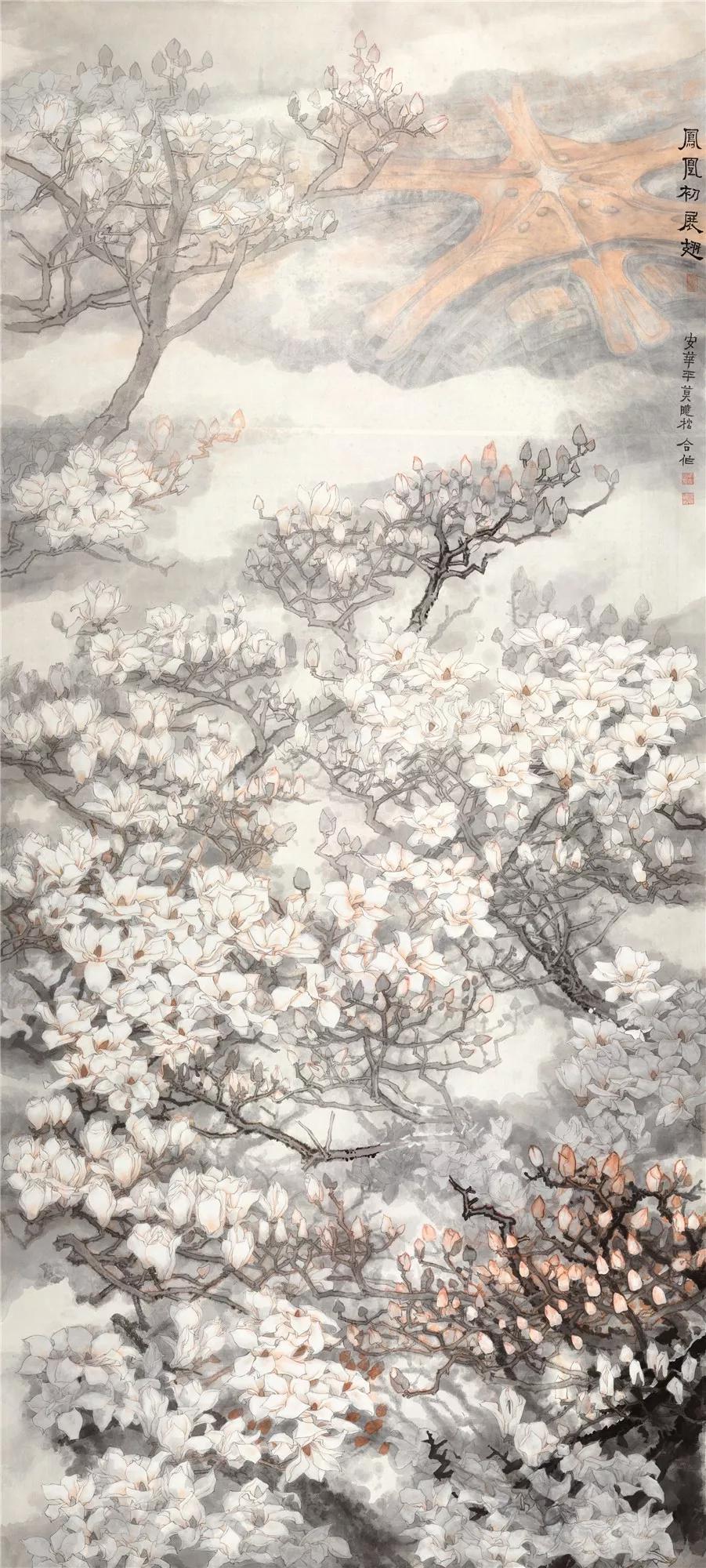 《凤凰初展翅》 莫晓松、安华平 344×156cm 绢本设色 2019年