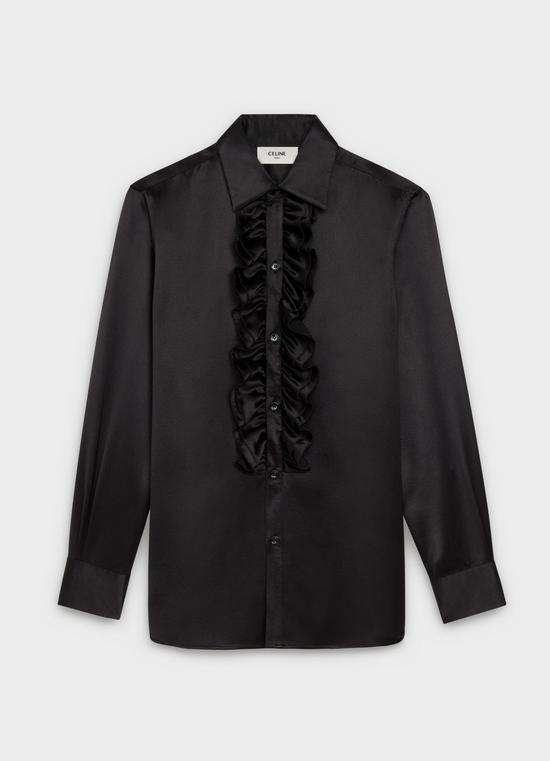 黑色真絲荷葉邊襯衫 Celine ¥14000