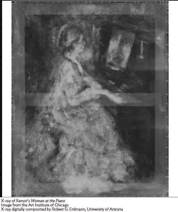 雷诺阿 《在钢琴边的女子》X光扫描图
