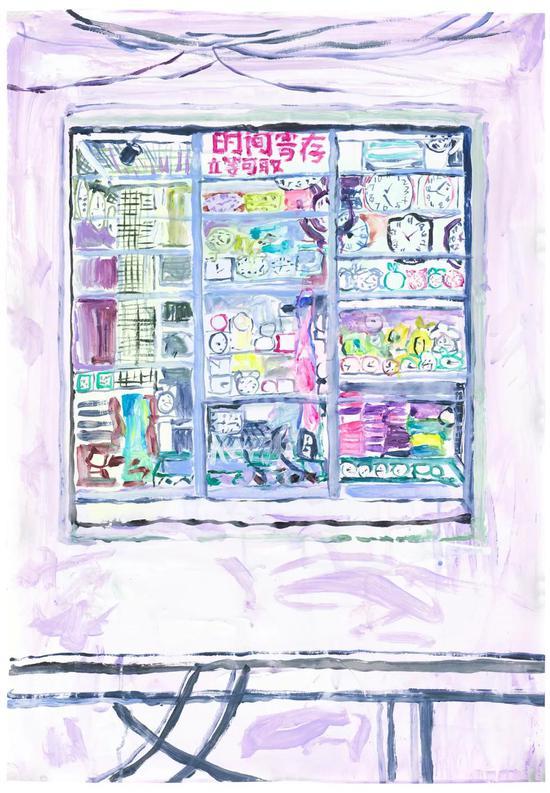 MiddleSpace|反空间   焦小健   钟表店   纸本丙烯   80×55cm   2021