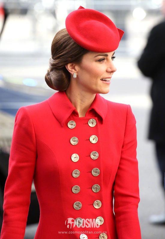 凯特王妃抵达英国伦敦的威斯敏斯特大教堂出席英联邦日活动