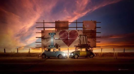 ▲给大众甲壳虫汽车拍的宣传广告