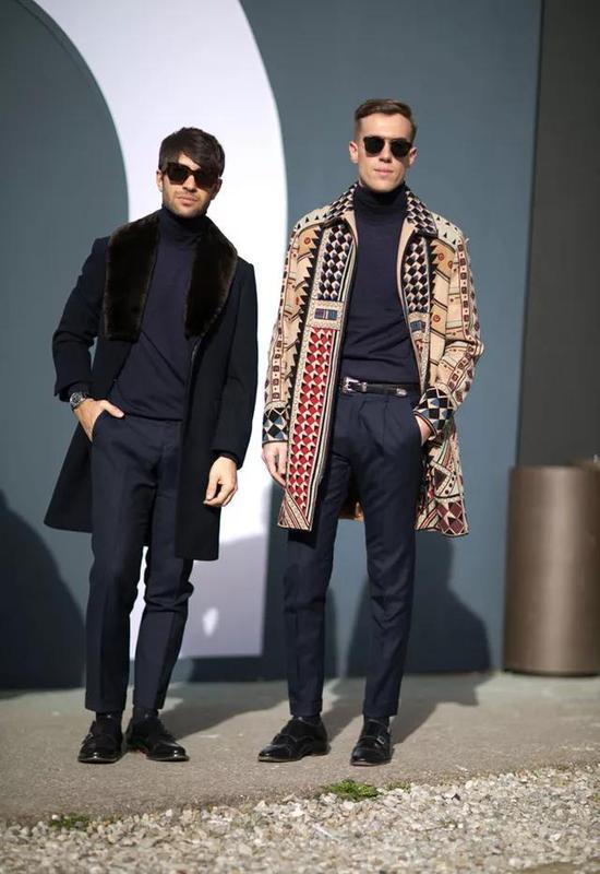 大衣+高领衫