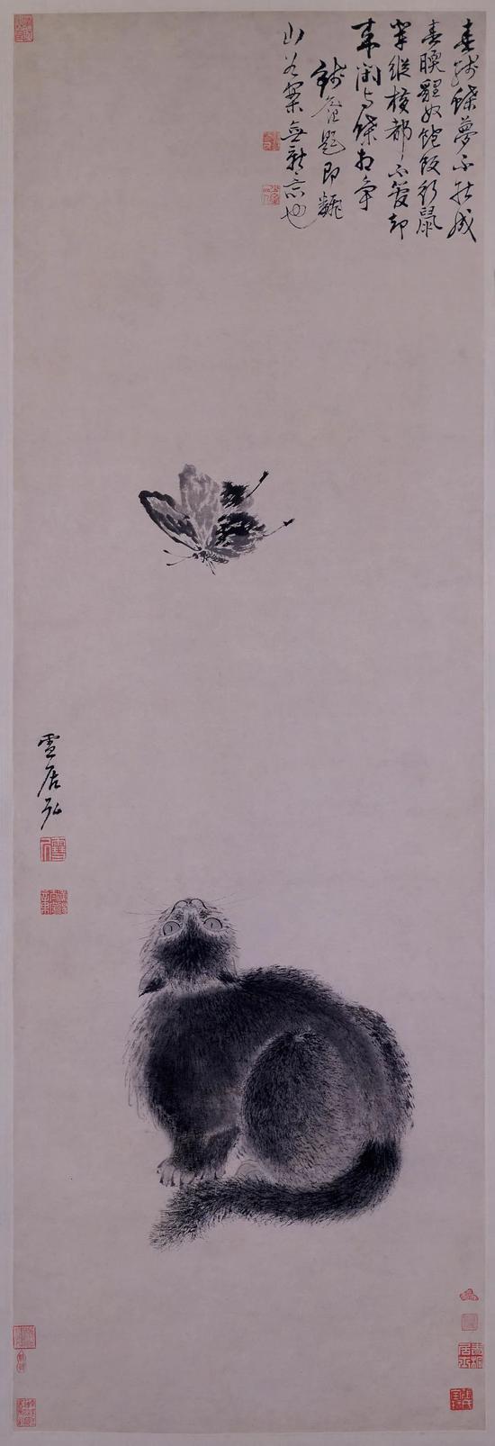 [明]孙克弘耄耋图 纸本设色139.5cm×47cm 故宫博物院藏
