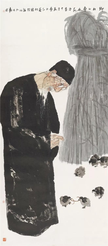 《乡村的齐白石》 袁武 218.5×96 cm 2010年 纸本设色 北京画院藏